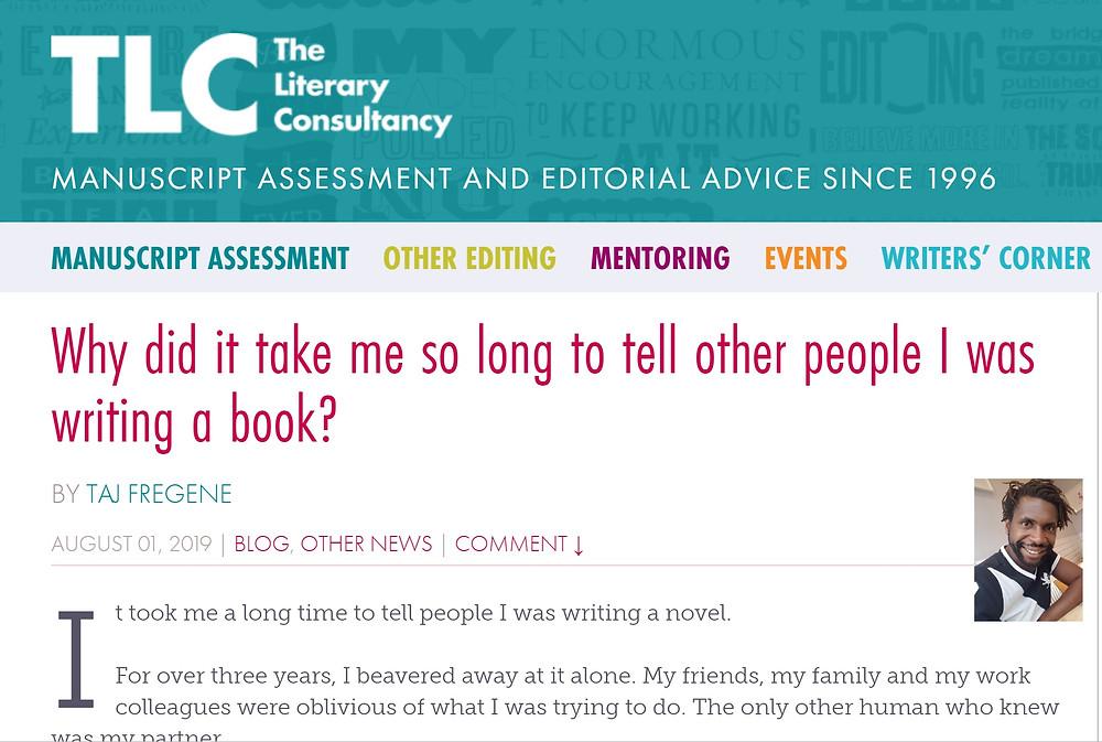 Screenshot of Taj Fregene on The Literary Consultacy's Website