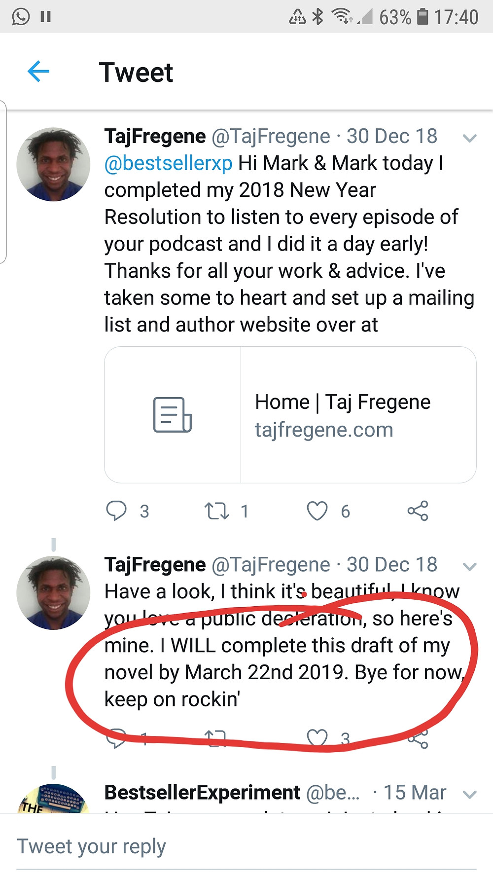 Screengrab of Taj Fregene's twitter feed in which he states that his will complete his book, All of our Tomorrows, by 22nd March 2019