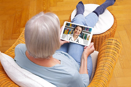 telemedicine concept, old woman with tab