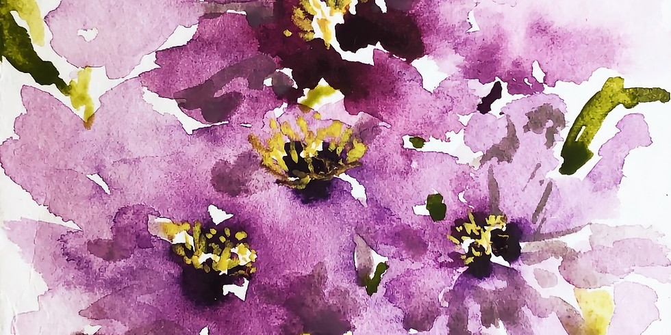 Relaxing Watercolour Flower Painting class on Zoom
