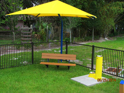Shade Canopy with Recycled Bench