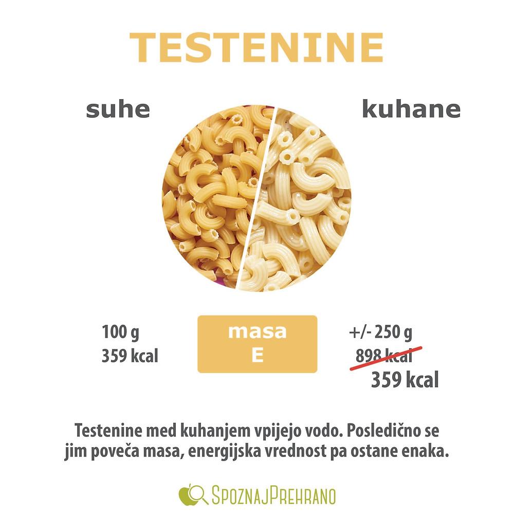 testenine, makaroni, suhe, kuhane, energijska vrednost, hranilna vrednost, kalorije