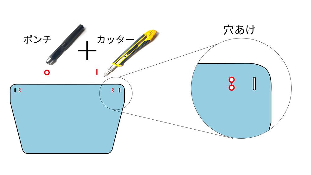取り付け前にポンチや穴あけパンチで穴をあけます、サイズはお手持ちのメガネに合わせてください