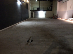 Concrete base after stage is removed