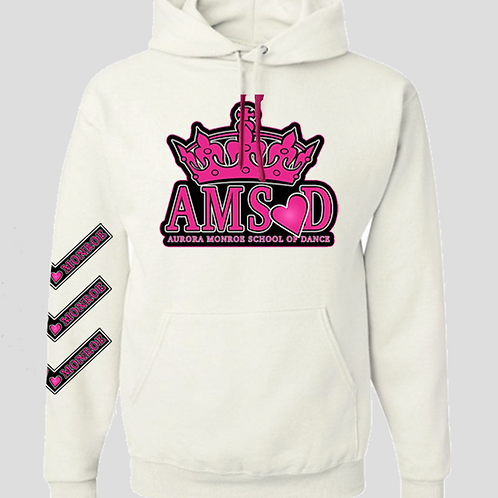 "White ""It's Aurora Monroe"" Hooded Sweatshirt"