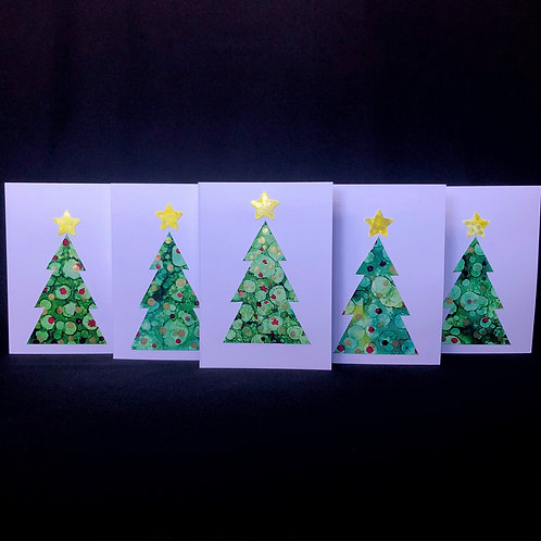 5 Card Pack - Christmas Trees
