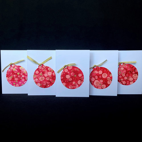 5 Card Pack - Christmas Baubles - Red