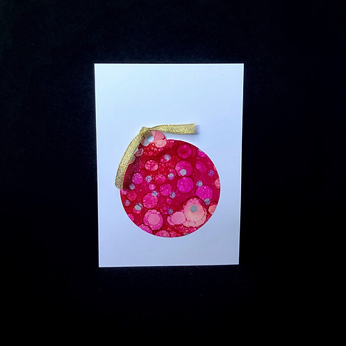 Christmas Card - Pink Bauble