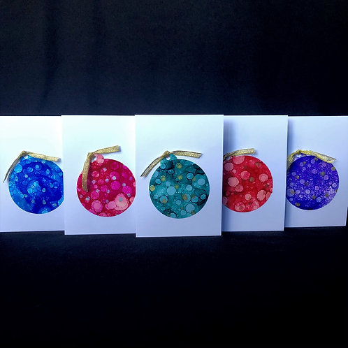 5 Card Pack - Christmas Baubles - Rainbow