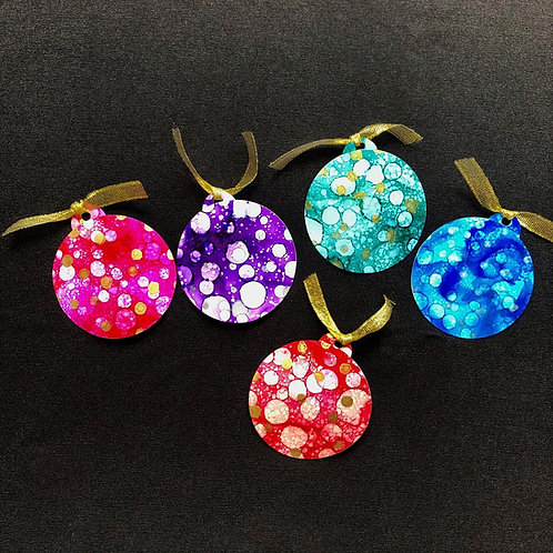 5 Gift Tag Pack - Christmas Baubles - Rainbow