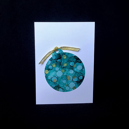 Christmas Card - Green Bauble