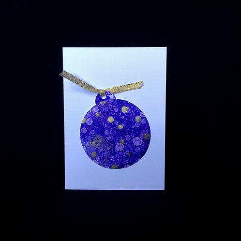 Christmas Card - Purple Bauble