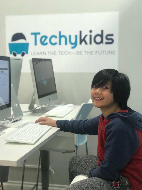 Young boy at TechyKids Brampton