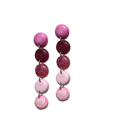 Resin Round Earrings - Pink