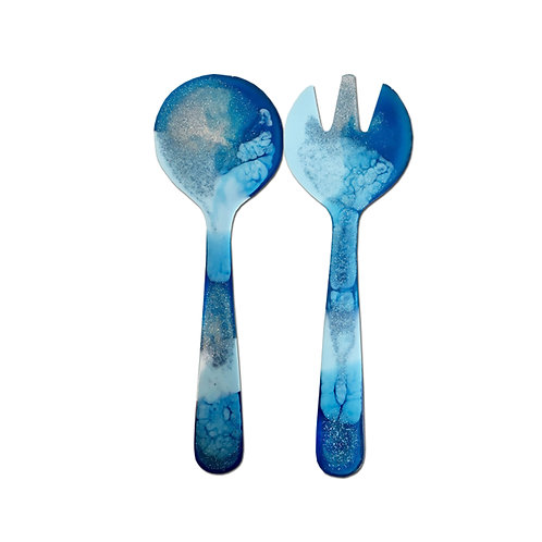 Resin Salad Servers - Blue, Pale Blue & Glitter