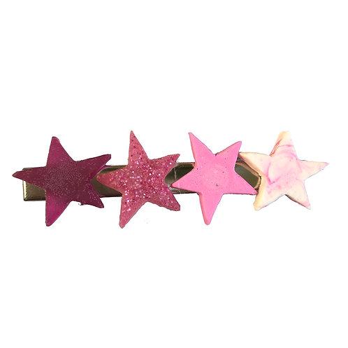 Hair Clip - Pink Stars