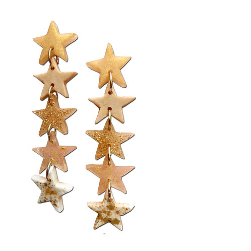 Resin Star Earrings - Gold