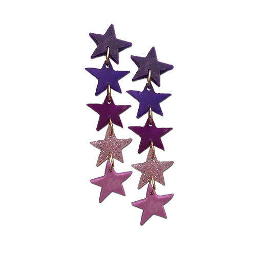 Resin Star Earrings - Purple