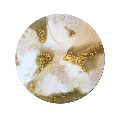 Resin Circle - Gold, Glitter & White