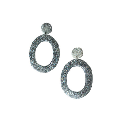Resin Large Loop Earrings - Holographic silver
