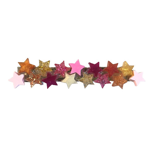 Hair Clip - Pink and Gold Small Stars