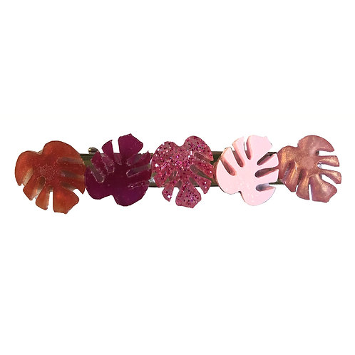 Hair Clip - Pink Monstera Leaves