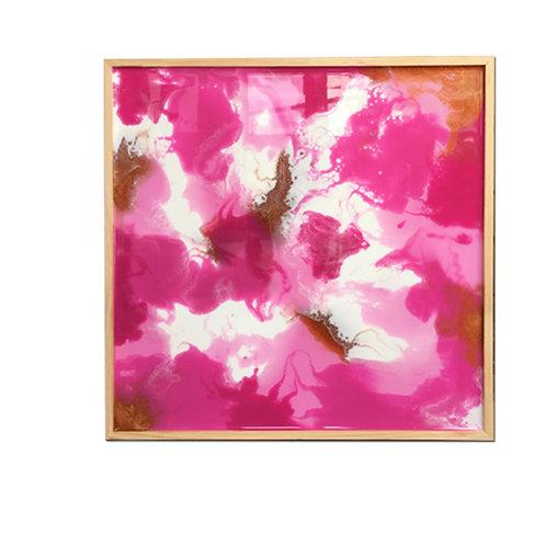 Resin Square - Pink, White & Bronze