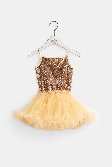 britt芭蕾洋裝/復古閃閃/古銅金