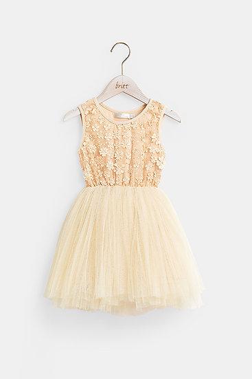 britt芭蕾洋裝/花樣精靈/復古金