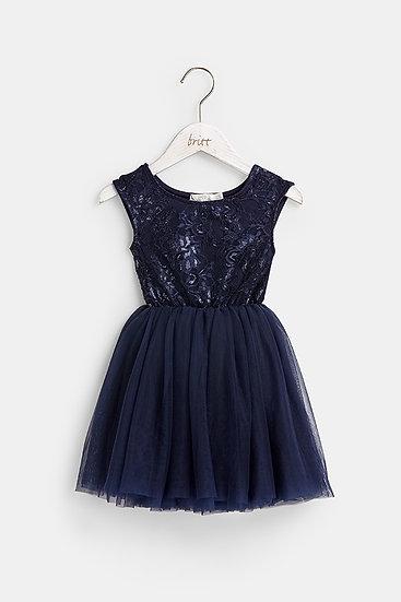 Britt芭蕾洋裝-深藍玫瑰
