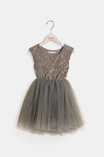 britt芭蕾洋裝/公主蕾絲/深邃灰