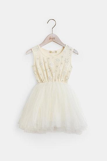 britt芭蕾洋裝/雪花蕾絲/雪花白