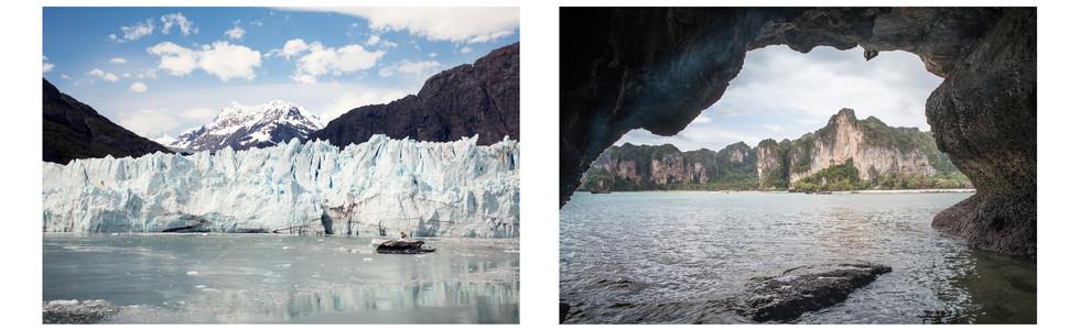 Glacier Bay, Alaska and Railay Beach, Thailand