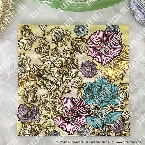 Pleated Floral - modern floral boutique greetings card