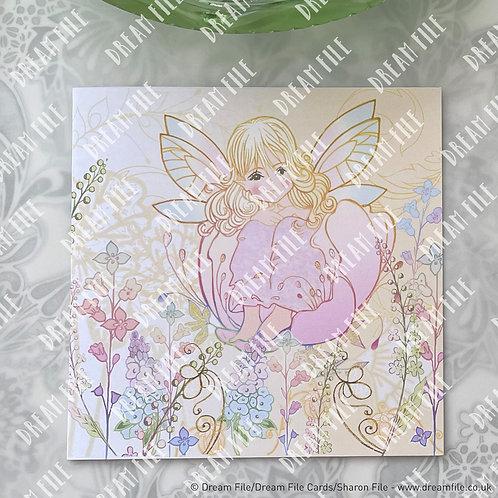 In a Flower - digitally printed fairy design blank greetings car