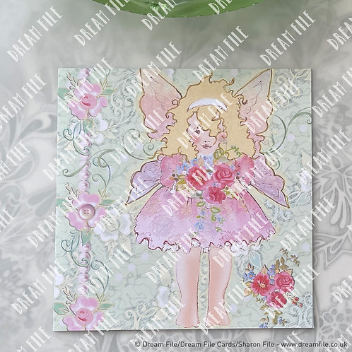 Vintage Alice - digitally printed fairy design blank greetings car