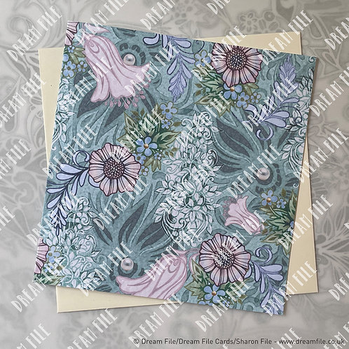 Full Time - Floral Card, Blank Card, Gallery-Style Greetings Card