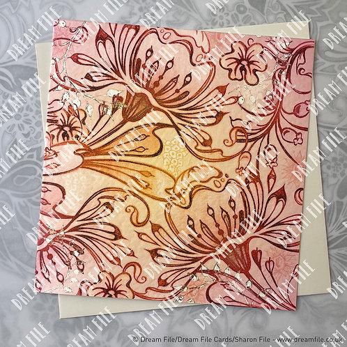 Le Coucher de Soliel – floral pattern designer card  unique, boutique, hand-embe