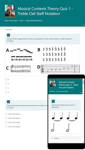 Music Theory Forms Quiz Bundle (MS-Forms)
