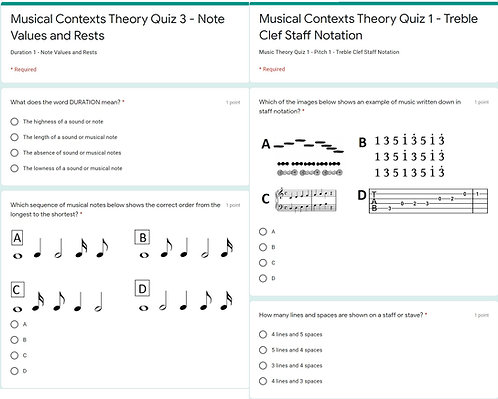Music Theory Forms Quiz Bundle (Google Forms)