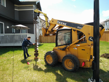 Drilling holes for fence