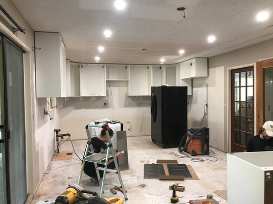 Working on the cabinets