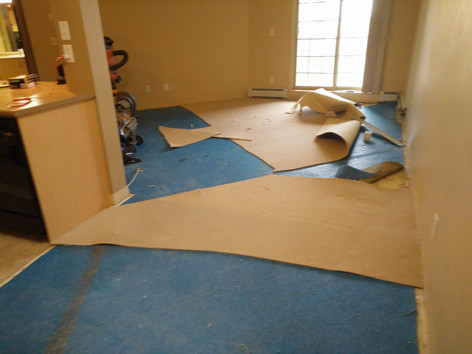 Removal of the old carpet