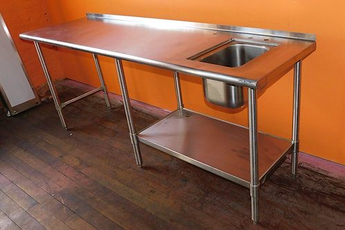 "84"" x 24"" Stainless Steel Prep Work Table with Sink & Faucet"