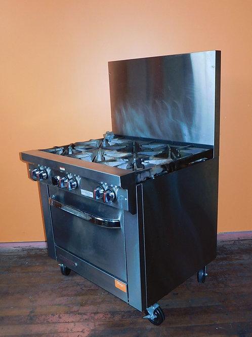"""Southbend 6 Burner, 1 """"Bakery Depth"""" Oven Natural Gas Range"""