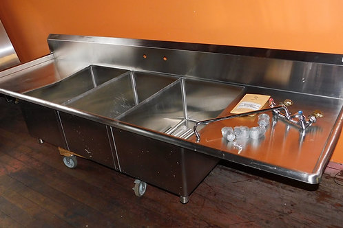 """111"""" Long 3 Bay Sink with Drainboards & Faucet"""