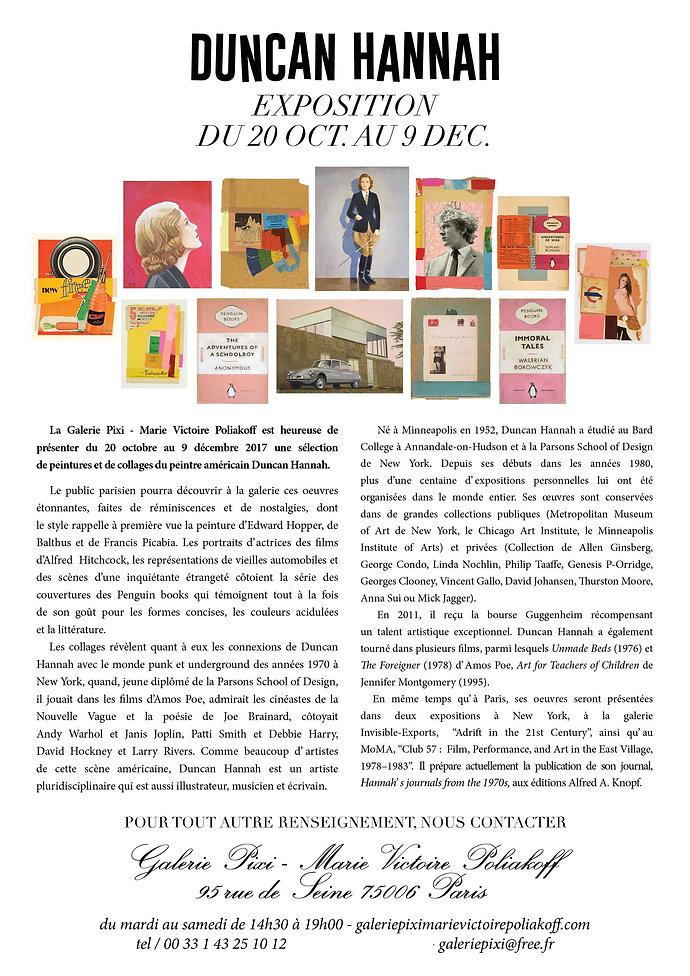 Dossier de presse de l'exposition de Duncan Hannah à la Galerie Pixi - Marie Victoire Poliakoff