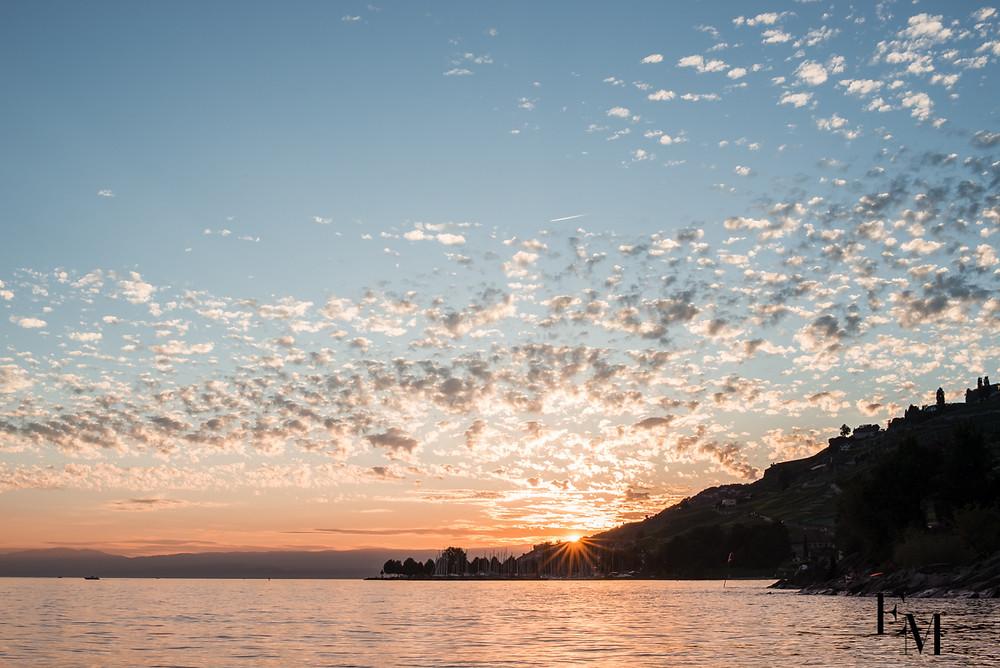 Couché de soleil Lac léman photographe famille
