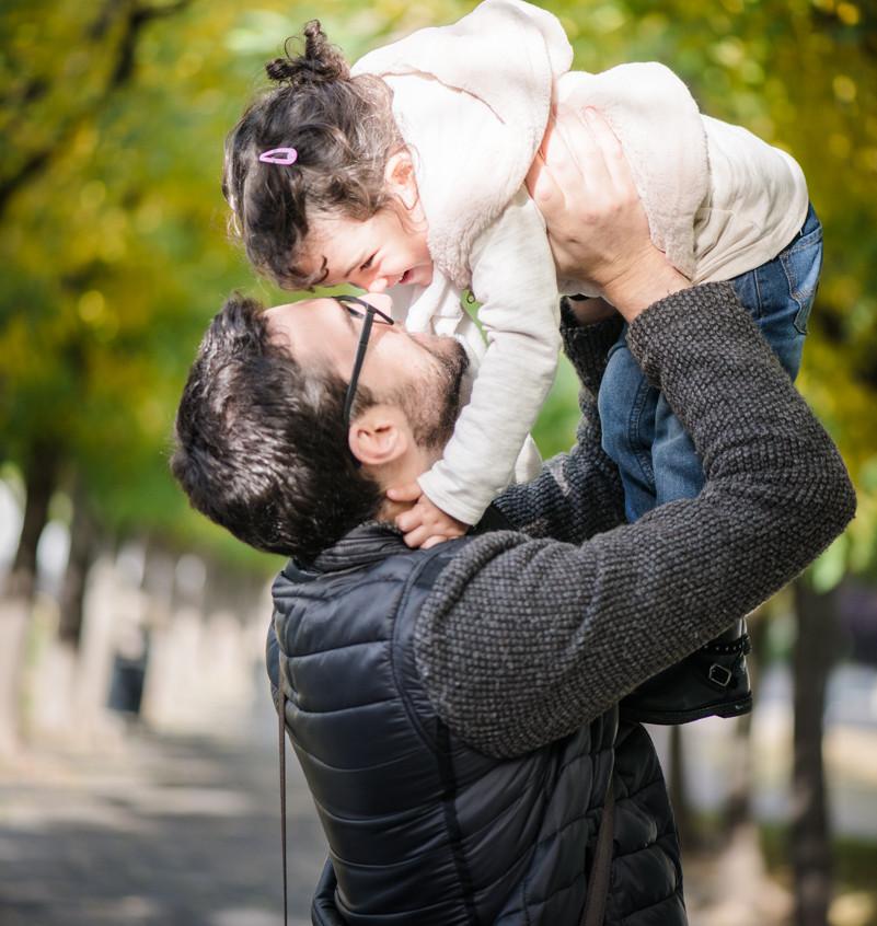 Père et fille pour une photo unique