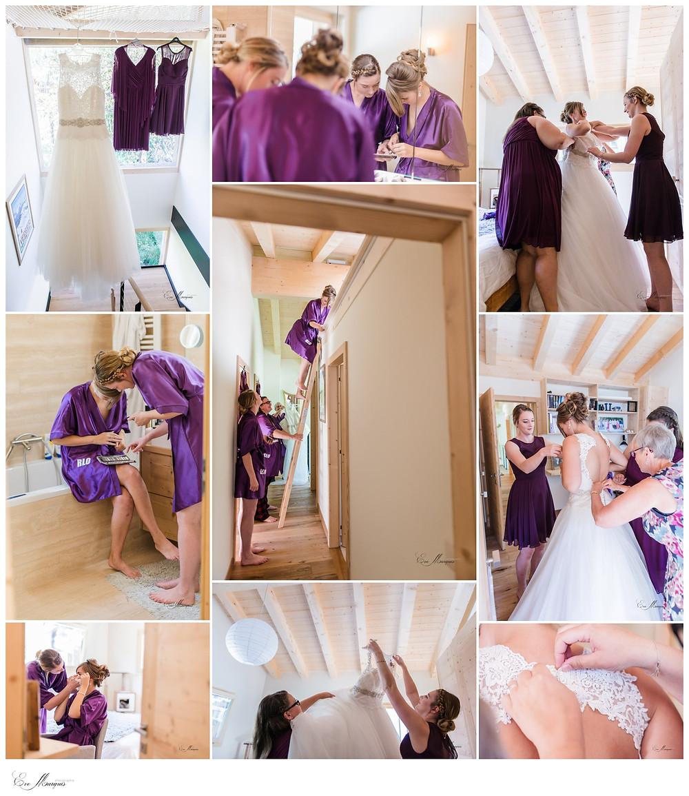 Préparation de la mariée en famille